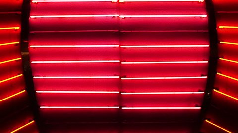 Red Neon Las Vegas Casino Sign at Night - Circa July 2016