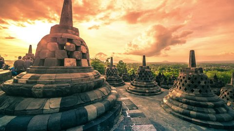 A beautiful sunrise at Borobudur Temple in Indonesia. 4K Timelapse - Java, Indonesia, June 2016.