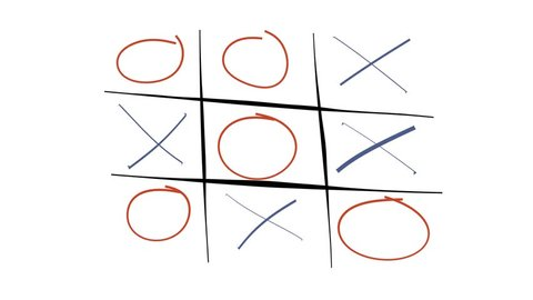Tic-tac-toe game playing animation. 4K video with alpha matte.