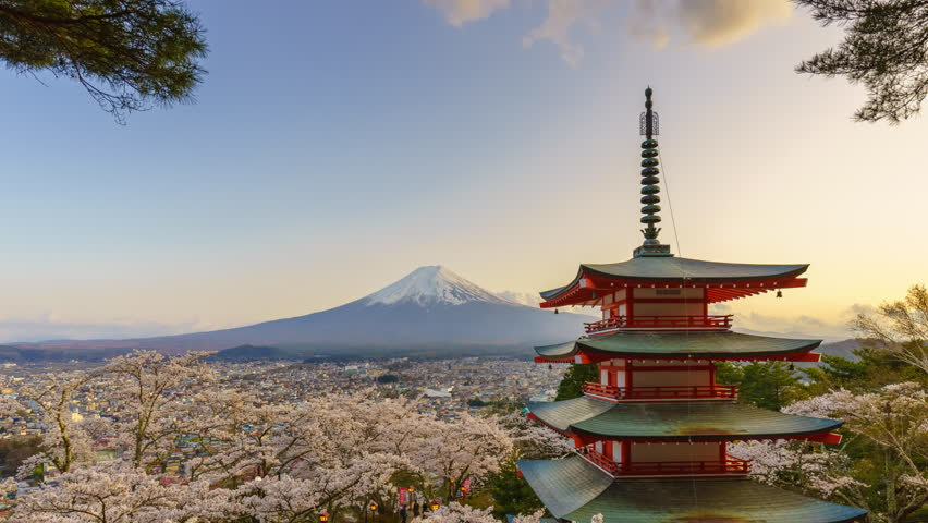 4K Timelapse of Mt. Fuji with Chureito Pagoda in spring, Fujiyoshida, Japan