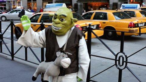 NEW YORK CITY, NY - NOVEMBER 25: Shrek on New York City Street during Black Friday on November 25, 2011 in New York City, New York.