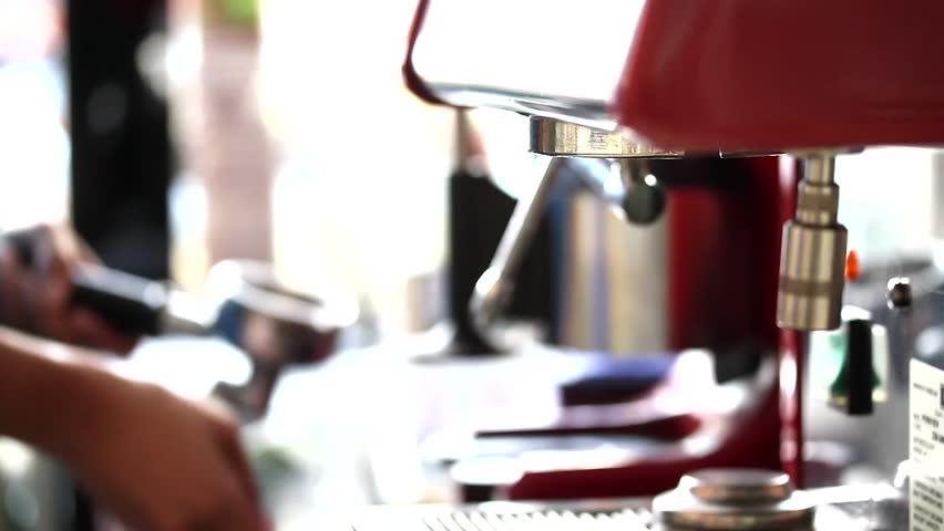 Coffee machine brewing hot fresh coffee