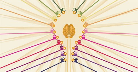 Crowdfunding and financial concept with colorful hands holding money to give their support around the brain in shape of light bulb idea.