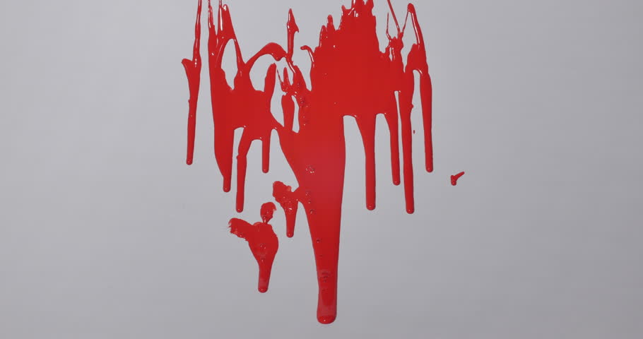 Stock Video Clip of Red Paint Slowly Dripping Down Wall Isolated ...
