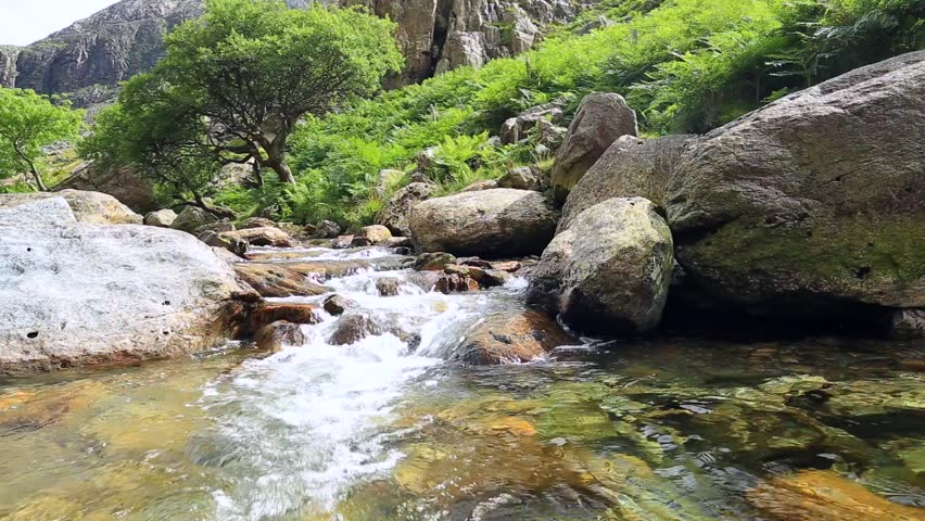 Crystal Clear Water of Mountain Creek in Snowdonia, Wales