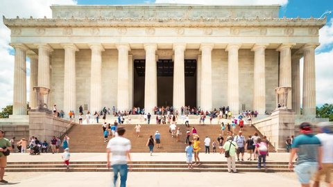Timelapse of people visiting the Lincoln Memorial in Washington DC
