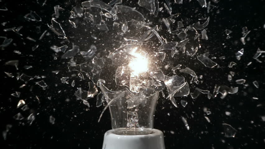 Glass Light Bulb Breaking in Super Slow Motion With Filament Smoke | Shutterstock HD Video #18540956