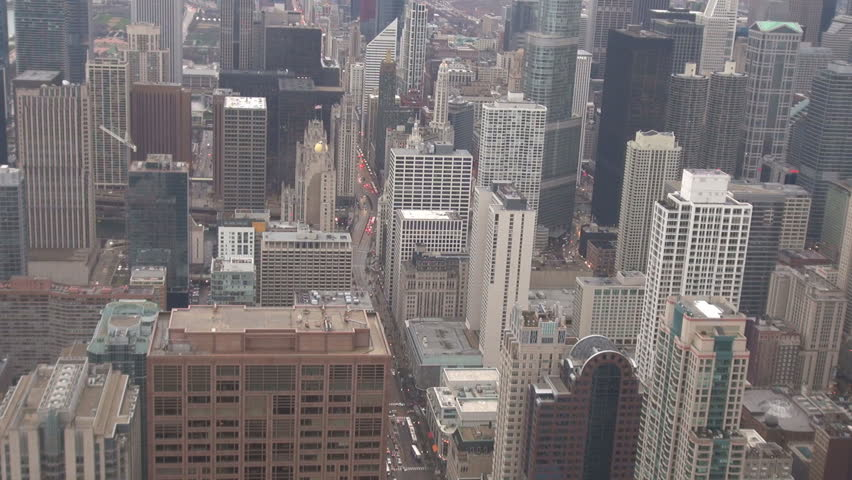 Aerial view of famous Chicago city with business district with tall skyscraper and traffic car on avenue | Shutterstock HD Video #18553001