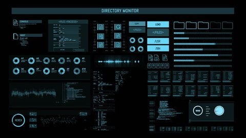 Futuristic digital interface screen / Streaming and flashing computer interface with data on it / Command center
