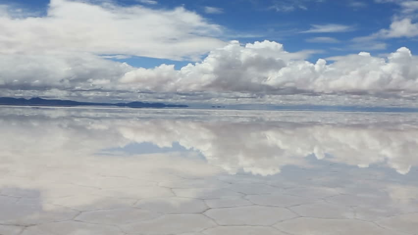 Panoramic view of the reflecting surface of the lake Salar de Uyuni, Bolivia