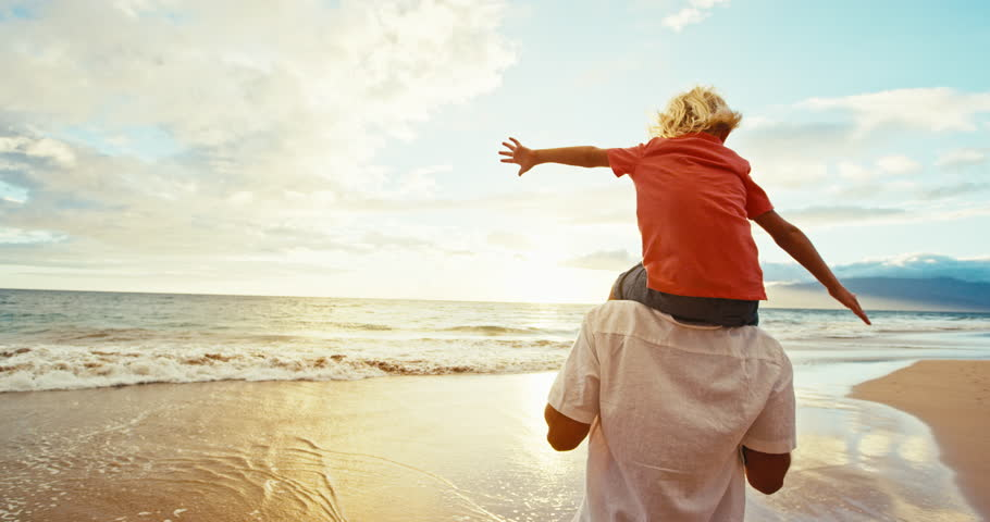 Happy father and son playing on the beach at sunset | Shutterstock HD Video #18597314