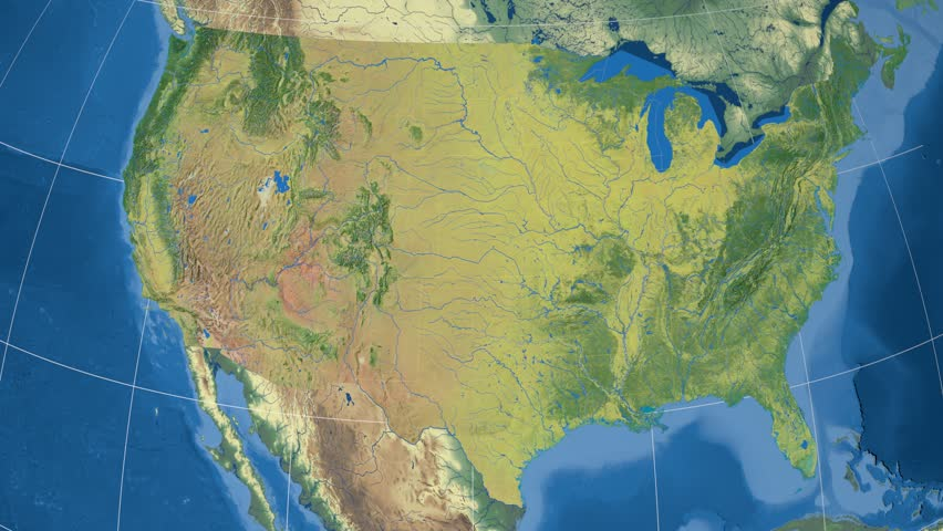 Mississippi Region Extruded On The Topographic Map Of United - Map of us rivers and lakes