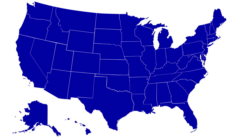 State of Alaska map reveals from the USA map silhouette animation with text of Alaska