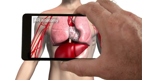 Augmented reality medical imaging app. Smartphone augmented reality app showing organs inside a body.