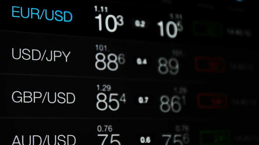 Currency exchange, forex rate board. Currency exchange rate of US Dollar, Euro, Pound, japan Yen, australian Dollar. World currency symbols. Business, financial markets, world economy background.