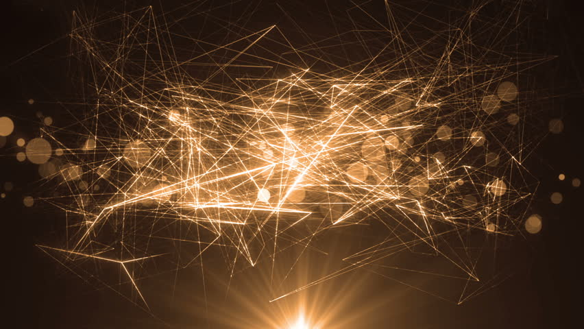 Abstract Gold Background With Rays Sparkles.Animation gold background with lens flare rays in dark background sky and stars. Seamless loop. | Shutterstock HD Video #18690974