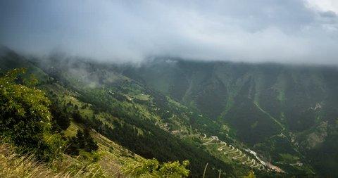 4K, Time Lapse, Clouds And Fog Over Vallon Du Lagon At Fort De La Marguerie, France - Neutral Version, Pan