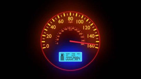 Speedometer fast car automobile speed dashboard accelerate mph kph light 4k