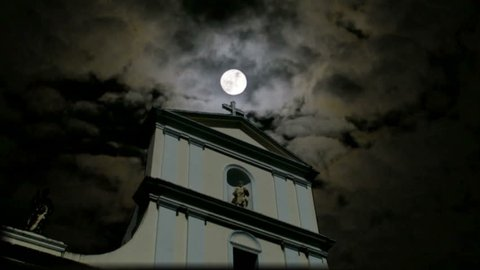 spooky church cathedral church cross and moon