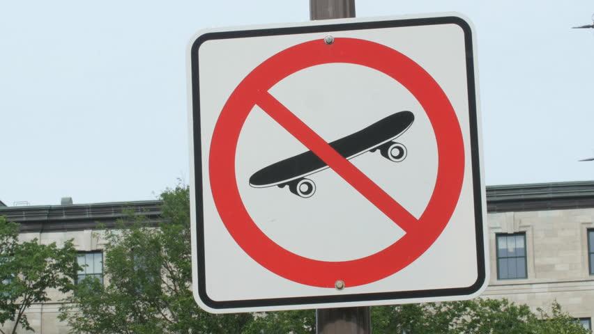 No skateboarding sign at Quebec City Hall, Quebec City, Canada.