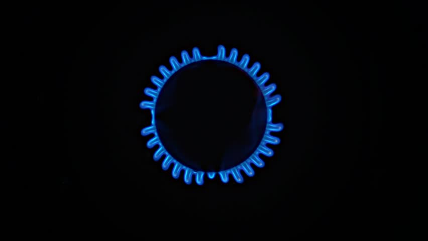 Natural Blue Gas flame lights up