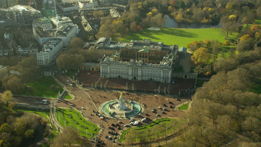 Aerial view of Buckingham Palace and Victoria Memorial London England
