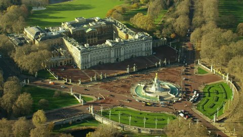 Aerial view of Victoria Memorial by Buckingham Palace London UK