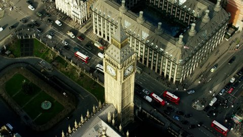 Aerial view of Big Ben and Houses of Parliament London UK