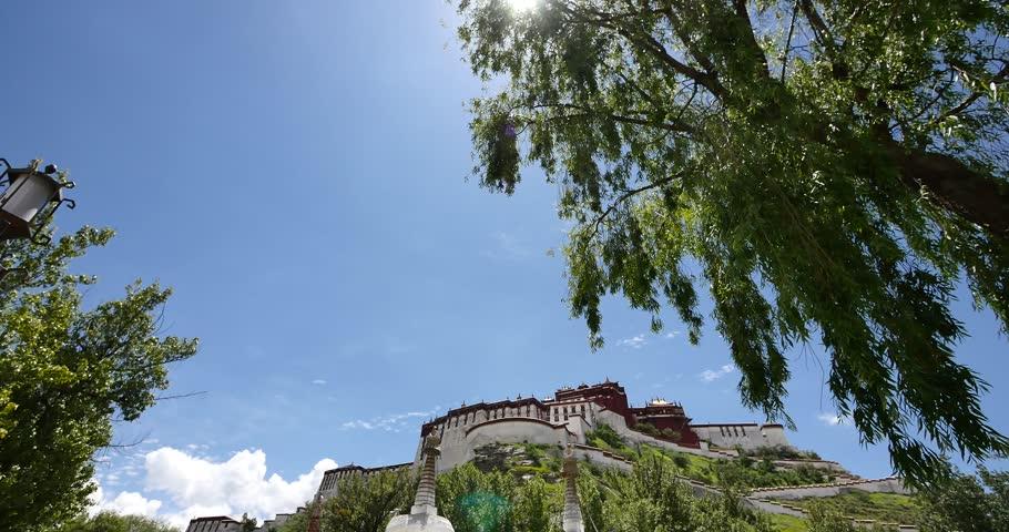 4k Potala & white stupa in Lhasa,Tibet. gh2_08881_4k
