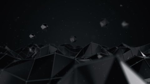Abstract background with animation moving vertex of polygonal surface. Animation of seamless loop.
