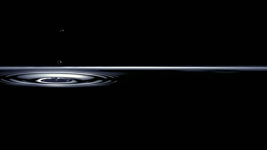 Slo-motion drops hitting water