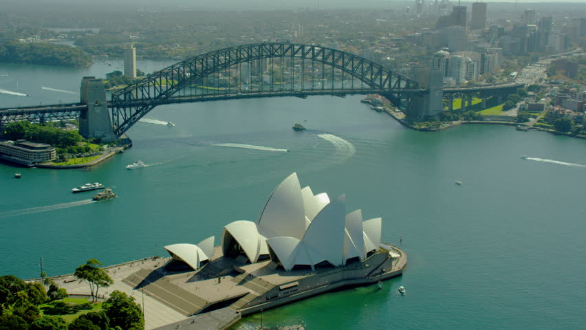 Sydney Australia - 2016: Aerial Sydney Harbor Bridge Australia Opera House Harbour Cityscape sea Circular Quay UNESCO travel tourism holiday RED DRAGON