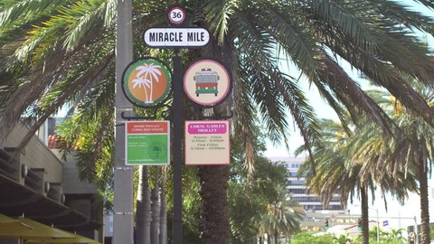 Miracle Mile street sign in Coral Gables, Miami, Florida