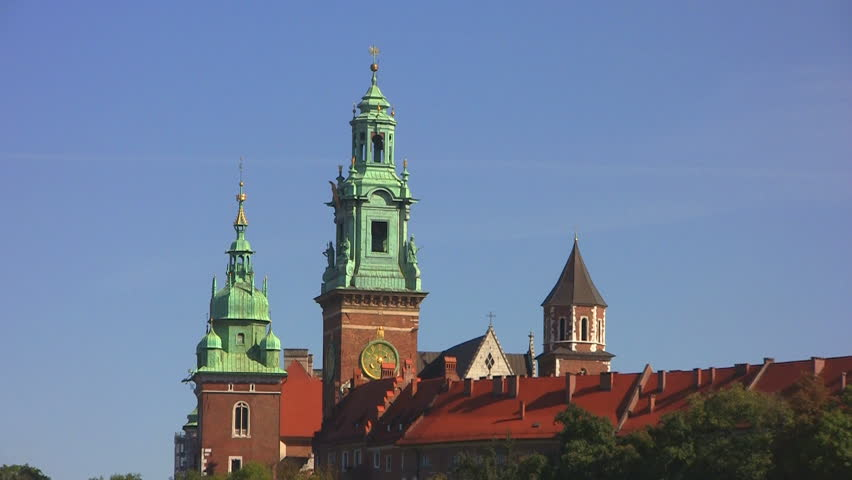 Wawel Royal Castle at Vistula River, skyline, Krakow, Poland