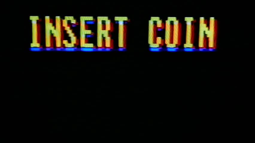 Insert coin, flashing in text titles. Classic arcade, vintage, retro video game style