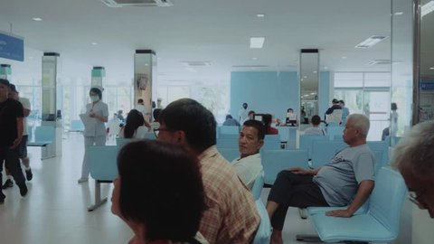 CHIANGMAI,THAILAND - AUGUST 11, 2016: Health Care Hospital Interior, Thailand patients in a waiting room of a state hospital in Thailand, nurses and other medical personnel, healthcare in THAILAND