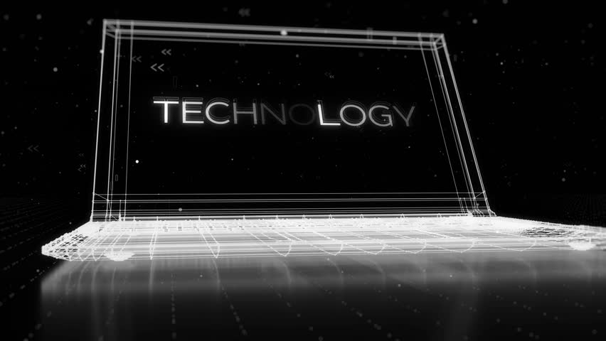 Digital 3d rendering with wireframe of notebook standing on reflective floor with a technology word on its display, atmoshpere elements are particles made of random symbols   Shutterstock HD Video #18863684