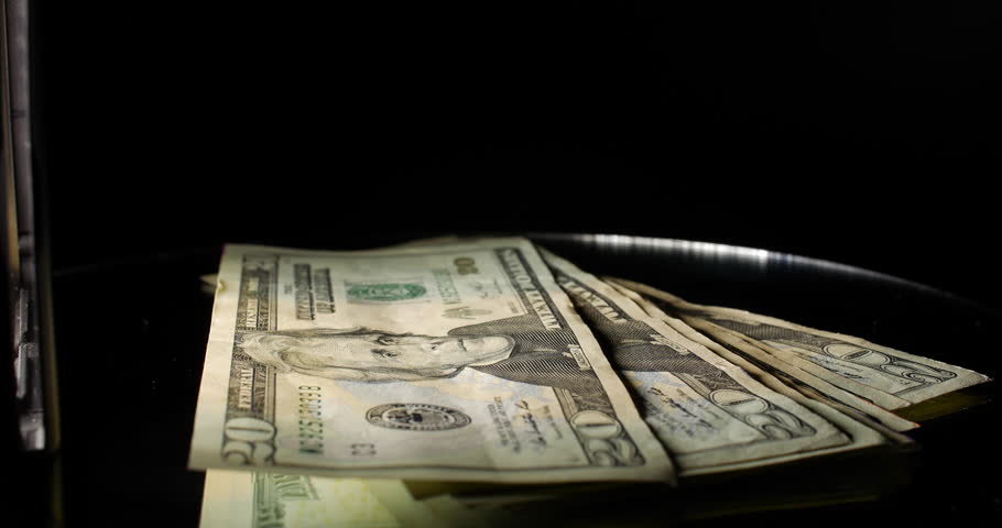 Stack Of Money Usa Twenty Dollar Bills Rotating With Light Wall 4k
