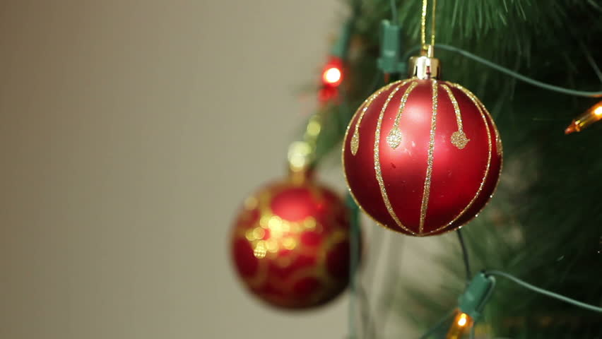 Stock Video Of Red Balls On A Christmas Tree