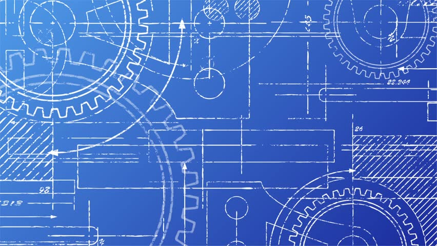 Grungy Mechanical Blueprint Looping Video Stock Footage Video ...