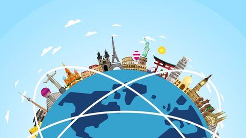 Travel the world. Monument concept. Famous landmarks on globe. Tourism and vacation theme.