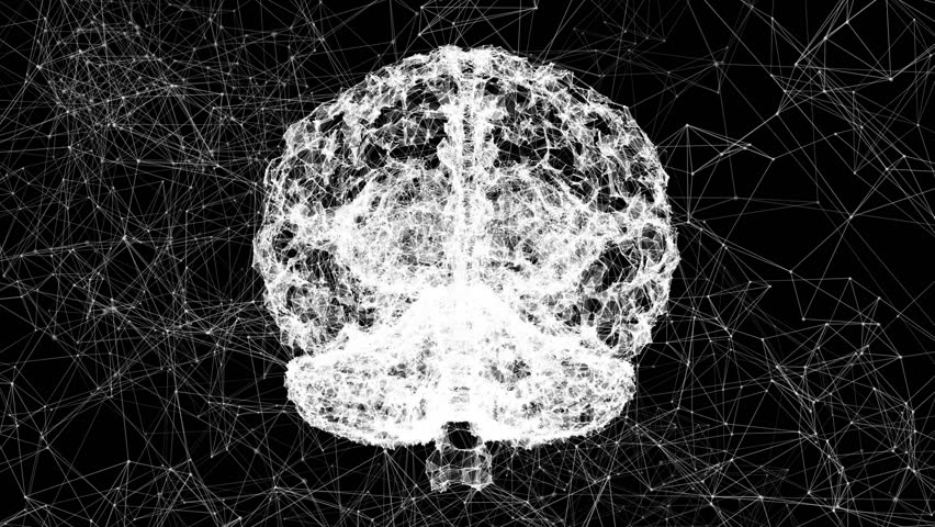 The cyber-brain. Artificial intelligence. Triangulation of the technology of the brain. Video of the human brain.