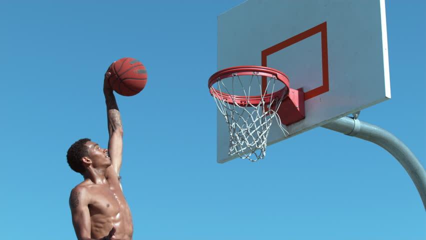Super slow motion shot of basketball basketball slam dunk, shot on Phantom Flex 4K #19000234