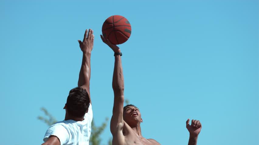 Super slow motion shot of basketball tip off, shot on Phantom Flex 4K