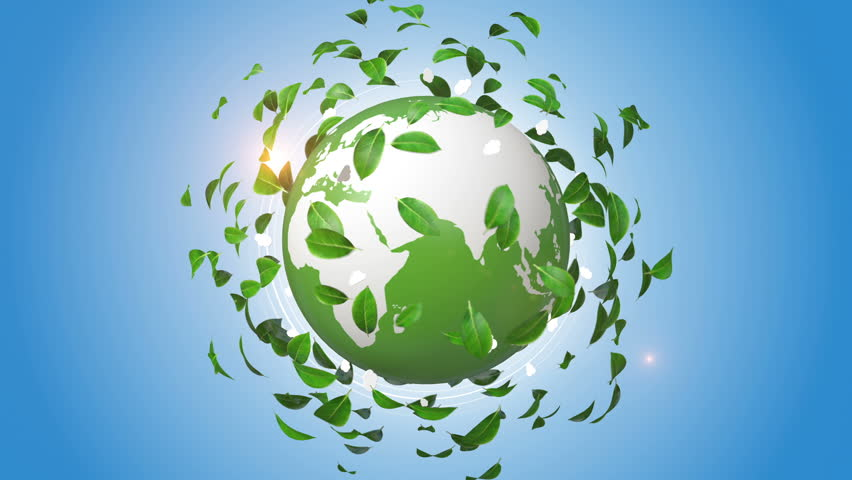 Green leaves rotating around orbiting globe. Environmental concept. | Shutterstock HD Video #19001014
