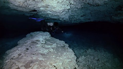 Underwater stalactites and stalagmites in landscape Mexican Sacred Mayan Cenote. Deep underground clean and clear fresh lake in cave. Unique shooting Wonders of Yucatan Peninsula nature in Dos Ojos.