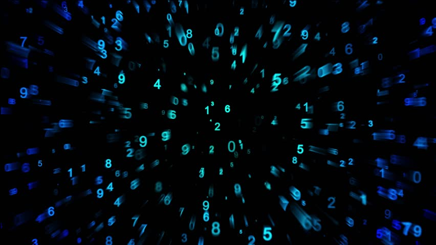 Blue Numbers Moving Back And Forth On Black Background With Echo Effect.  Seamless Loop.