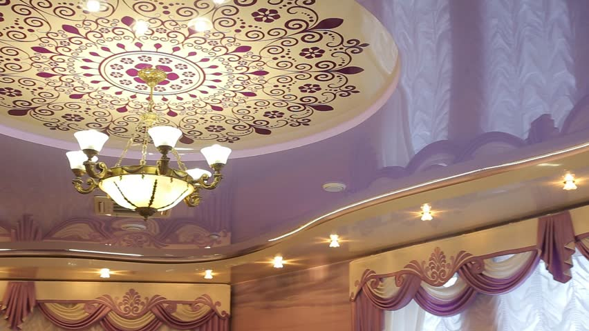 Ceiling Crystal Chandelier Dolly Shot Stock Footage Video 764566 ...