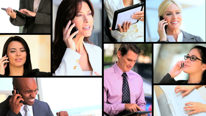 Montage images of ambitious young business people pursuing their careers helped by modern technology   Shutterstock HD Video #1905106