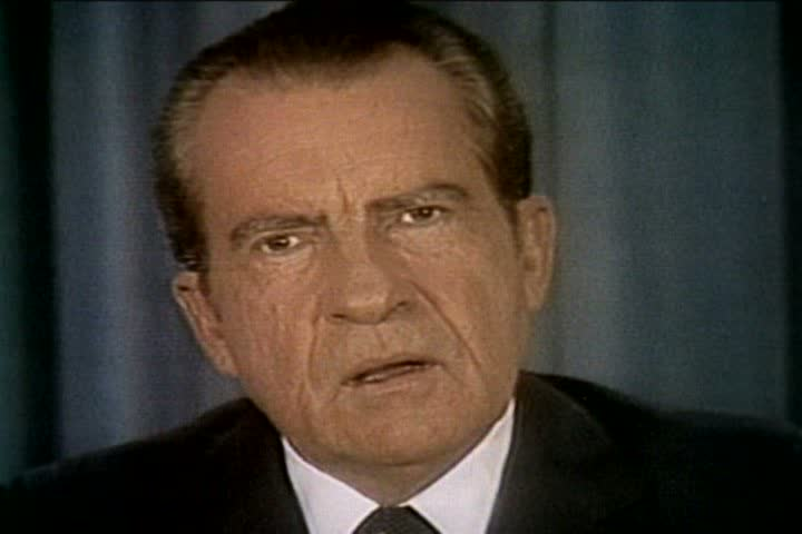 President Richard Nixon discusses the Watergate scandal as a distraction from the pursuit of world peace and American progress at the release of the Watergate tapes in the 1970s. (1970s)